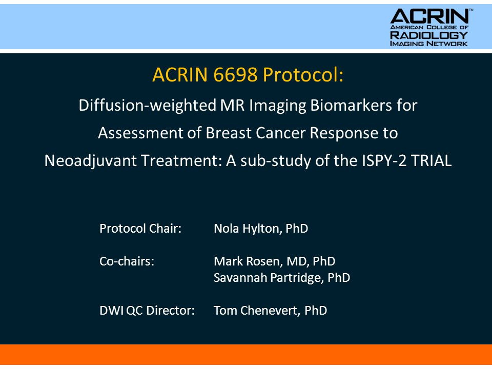 ACRIN 6698 Purpose: To test diffusion-weighted MRI (DWI) for ability to predict breast tumor response to neoadjuvant therapy.