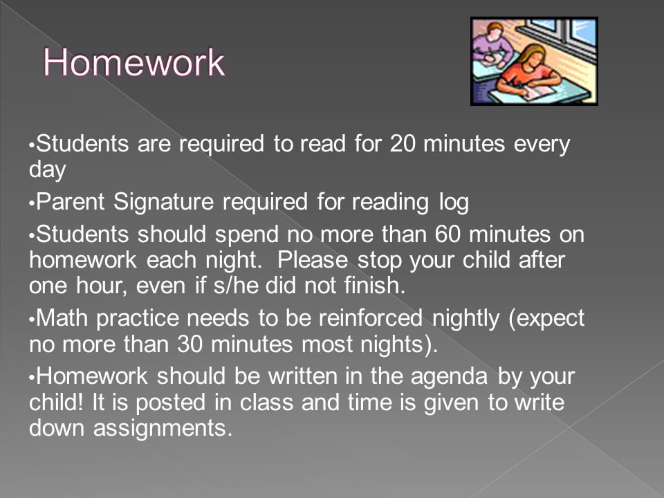 Students are required to read for 20 minutes every day Parent Signature required for reading log Students should spend no more than 60 minutes on homework each night.
