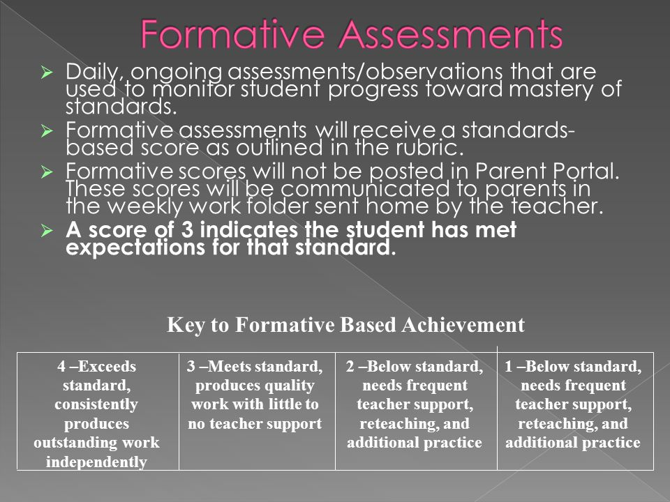  Daily, ongoing assessments/observations that are used to monitor student progress toward mastery of standards.