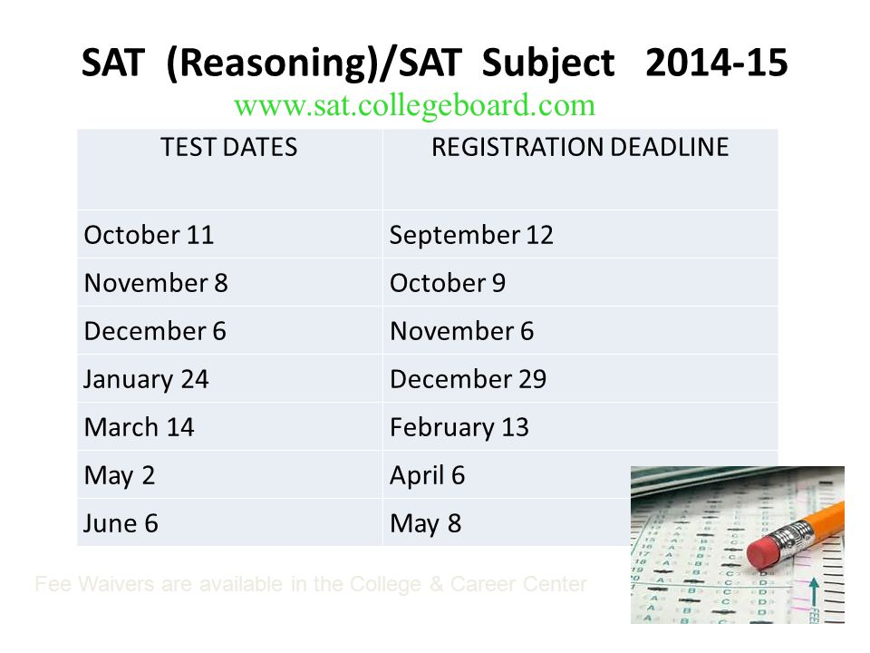 SAT (Reasoning)/SAT Subject 2014-15 www.sat.collegeboard.com TEST DATESREGISTRATION DEADLINE October 11September 12 November 8October 9 December 6November 6 January 24December 29 March 14February 13 May 2April 6 June 6May 8 Fee Waivers are available in the College & Career Center