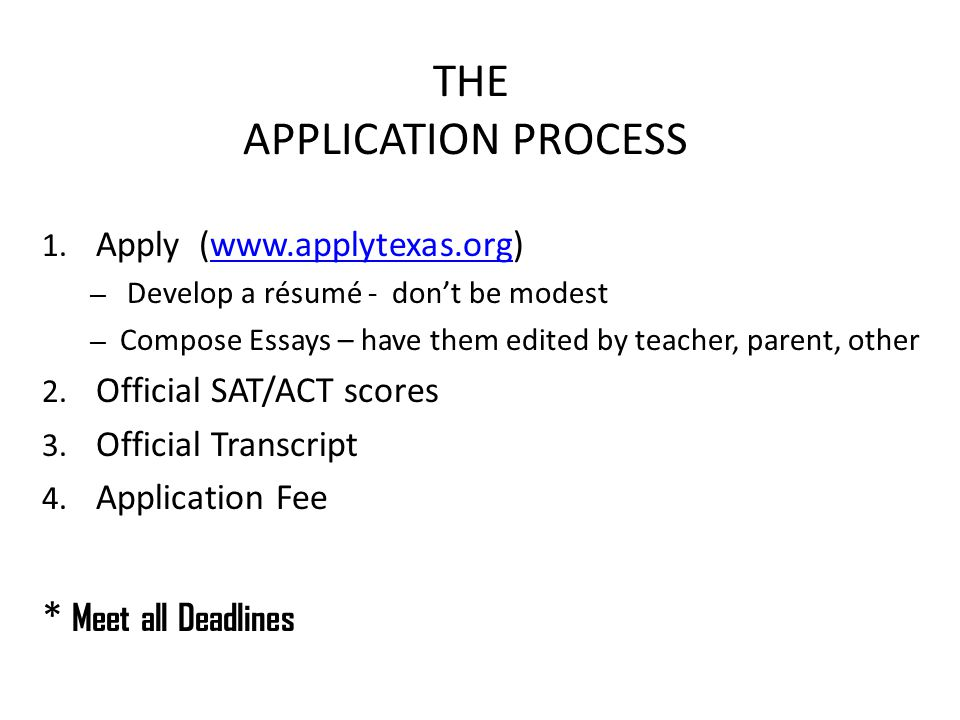 THE APPLICATION PROCESS 1.