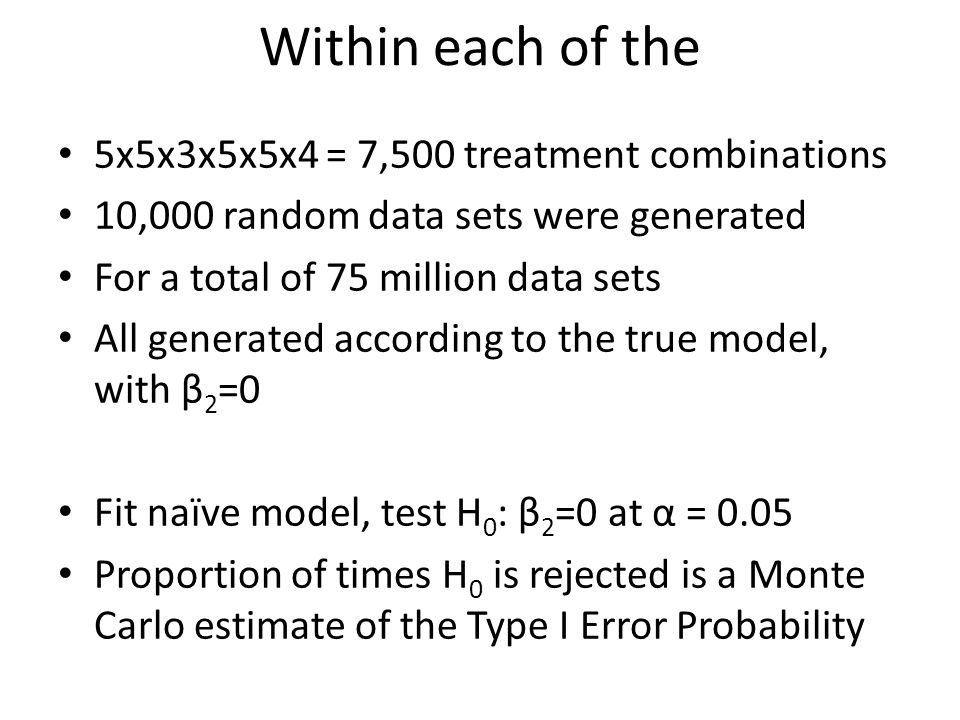 Within each of the 5x5x3x5x5x4 = 7,500 treatment combinations 10,000 random data sets were generated For a total of 75 million data sets All generated according to the true model, with β 2 =0 Fit naïve model, test H 0 : β 2 =0 at α = 0.05 Proportion of times H 0 is rejected is a Monte Carlo estimate of the Type I Error Probability