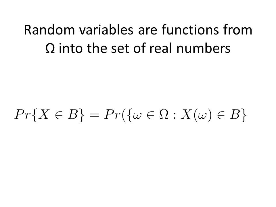 Random variables are functions from Ω into the set of real numbers