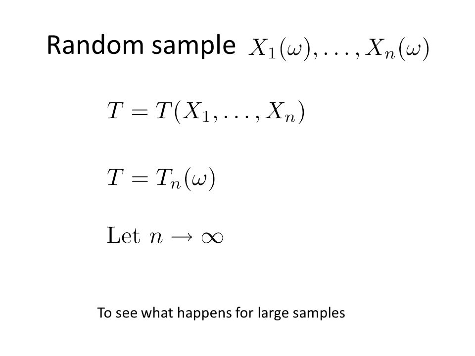 Random sample To see what happens for large samples