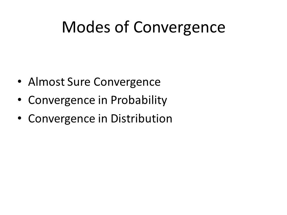 Modes of Convergence Almost Sure Convergence Convergence in Probability Convergence in Distribution