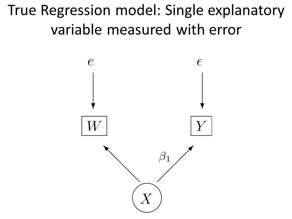 True Regression model: Single explanatory variable measured with error