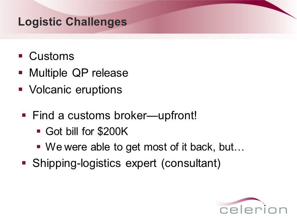 Logistic Challenges  Customs  Multiple QP release  Volcanic eruptions  Find a customs broker—upfront.