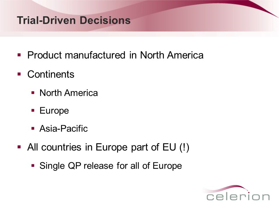 (Idealized) Product Flow Labeling & Packaging (EU) Drug Depot (US) Clinical sites Drug Manufacturing (North America) QP Release Drug Depot (EU)Drug Depot (Asia-Pacific) Clinical sites