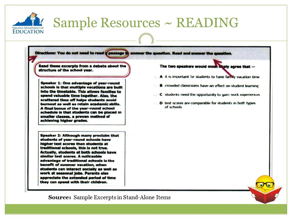 Sample Resources ~ READING Source: Sample Excerpts in Stand-Alone Items