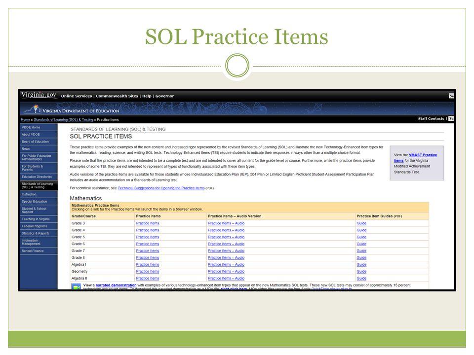 SOL Practice Items