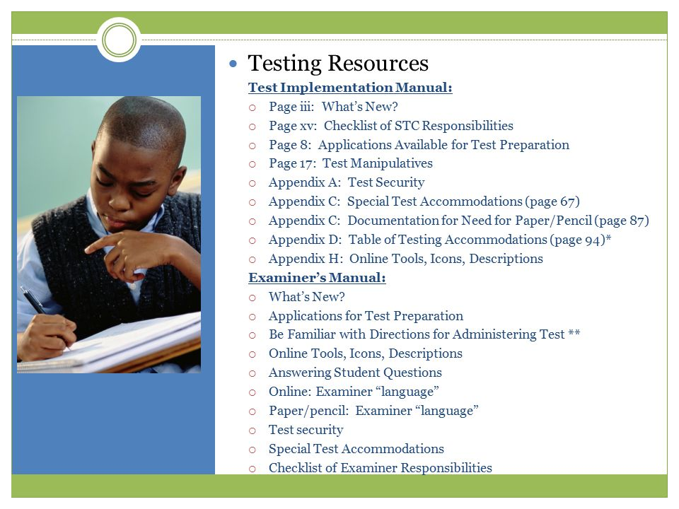 Table of Testing Accommodations Code Accommo- dation Student Content Area Description 1 Flexible Schedule SWD LEP HMRS  Testing with breaks requires the test to be completed within one school day;  Multiple test sessions that involve testing over more than one school day—require a paper/pencil test.