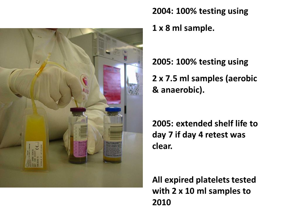 2004: 100% testing using 1 x 8 ml sample. 2005: 100% testing using 2 x 7.5 ml samples (aerobic & anaerobic). 2005: extended shelf life to day 7 if day
