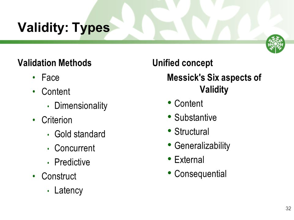 Validity: Types Validation Methods Face Content Dimensionality Criterion Gold standard Concurrent Predictive Construct Latency Unified concept Messick s Six aspects of Validity Content Substantive Structural Generalizability External Consequential 32