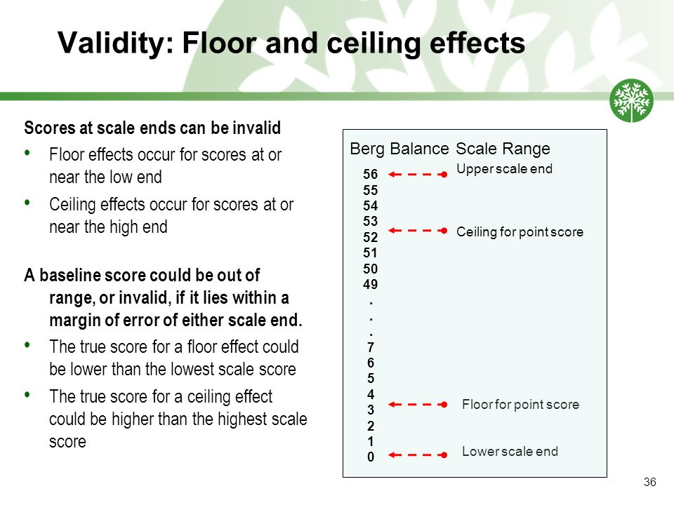 Validity: Floor and ceiling effects Scores at scale ends can be invalid Floor effects occur for scores at or near the low end Ceiling effects occur for scores at or near the high end A baseline score could be out of range, or invalid, if it lies within a margin of error of either scale end.