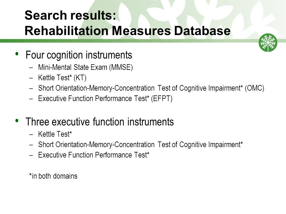 Search results: Rehabilitation Measures Database Four cognition instruments –Mini-Mental State Exam (MMSE) –Kettle Test* (KT) –Short Orientation-Memory-Concentration Test of Cognitive Impairment* (OMC) –Executive Function Performance Test* (EFPT) Three executive function instruments –Kettle Test* –Short Orientation-Memory-Concentration Test of Cognitive Impairment* –Executive Function Performance Test* *in both domains