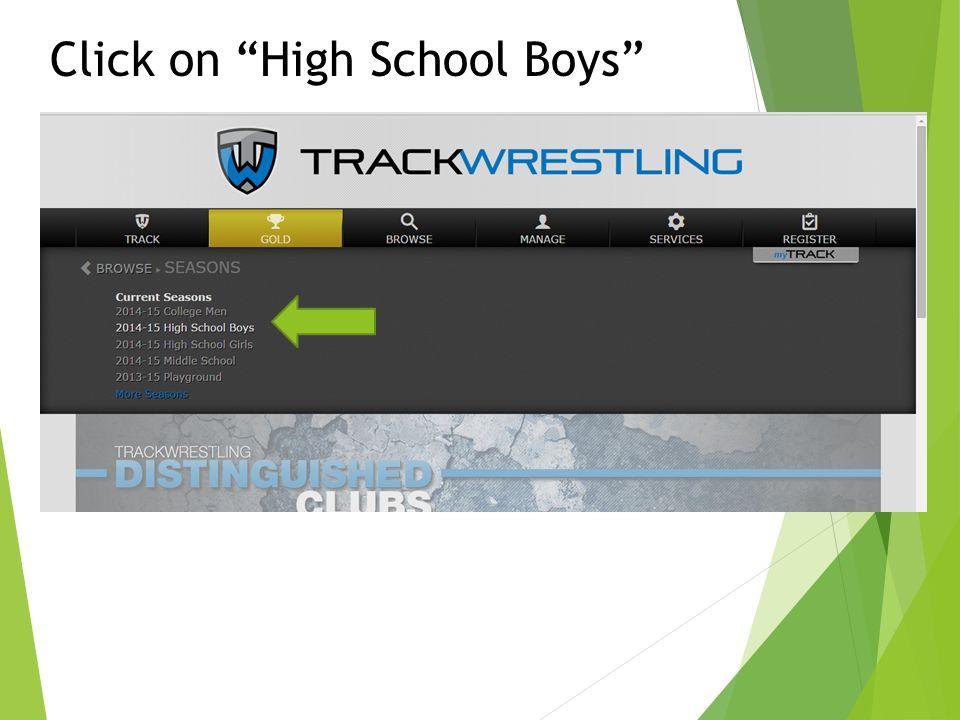 "Click on ""High School Boys"""