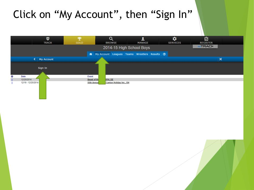 """Click on """"My Account"""", then """"Sign In"""""""
