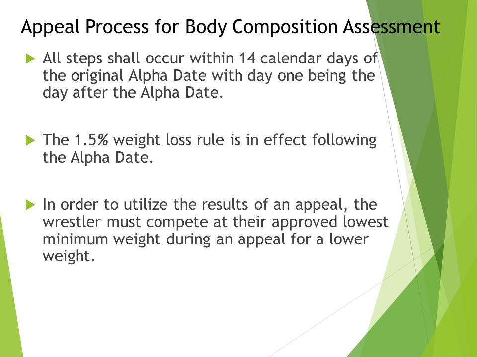 Appeal Process for Body Composition Assessment  All steps shall occur within 14 calendar days of the original Alpha Date with day one being the day a