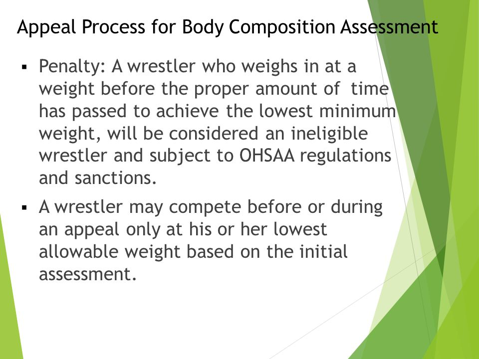 Appeal Process for Body Composition Assessment  Penalty: A wrestler who weighs in at a weight before the proper amount of time has passed to achieve