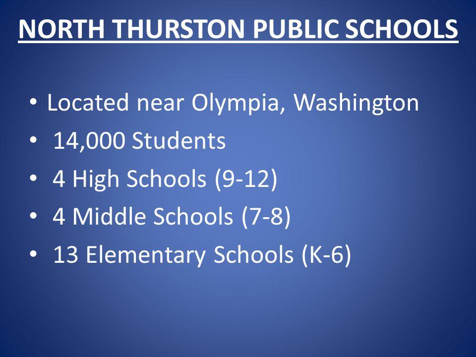 NORTH THURSTON PUBLIC SCHOOLS Located near Olympia, Washington 14,000 Students 4 High Schools (9-12) 4 Middle Schools (7-8) 13 Elementary Schools (K-6