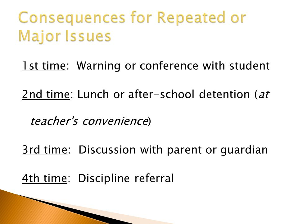 1st time: Warning or conference with student 2nd time: Lunch or after-school detention (at teacher's convenience) 3rd time: Discussion with parent or