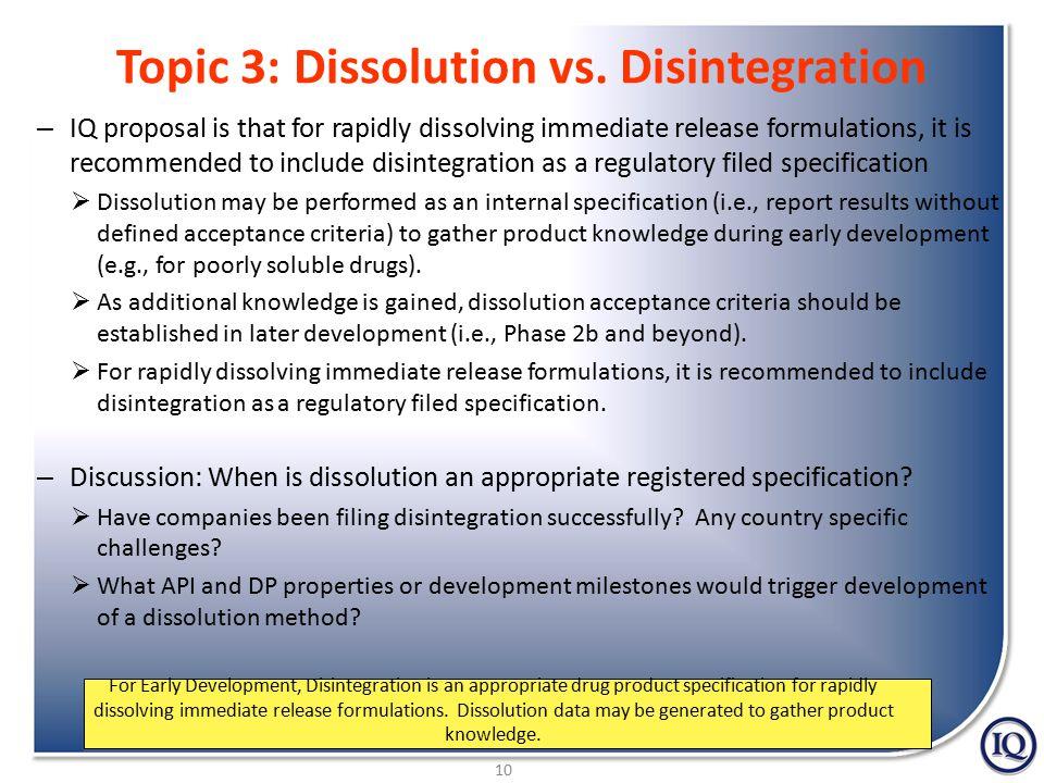 10 Topic 3: Dissolution vs.