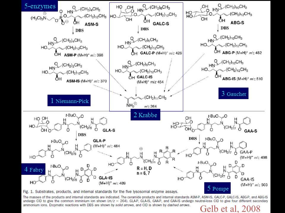 LSD Assay Compounds 1 Niemann-Pick 2 Krabbe 3 Gaucher 4 Fabry 5 Pompe 5-enzymes Gelb et al, 2008