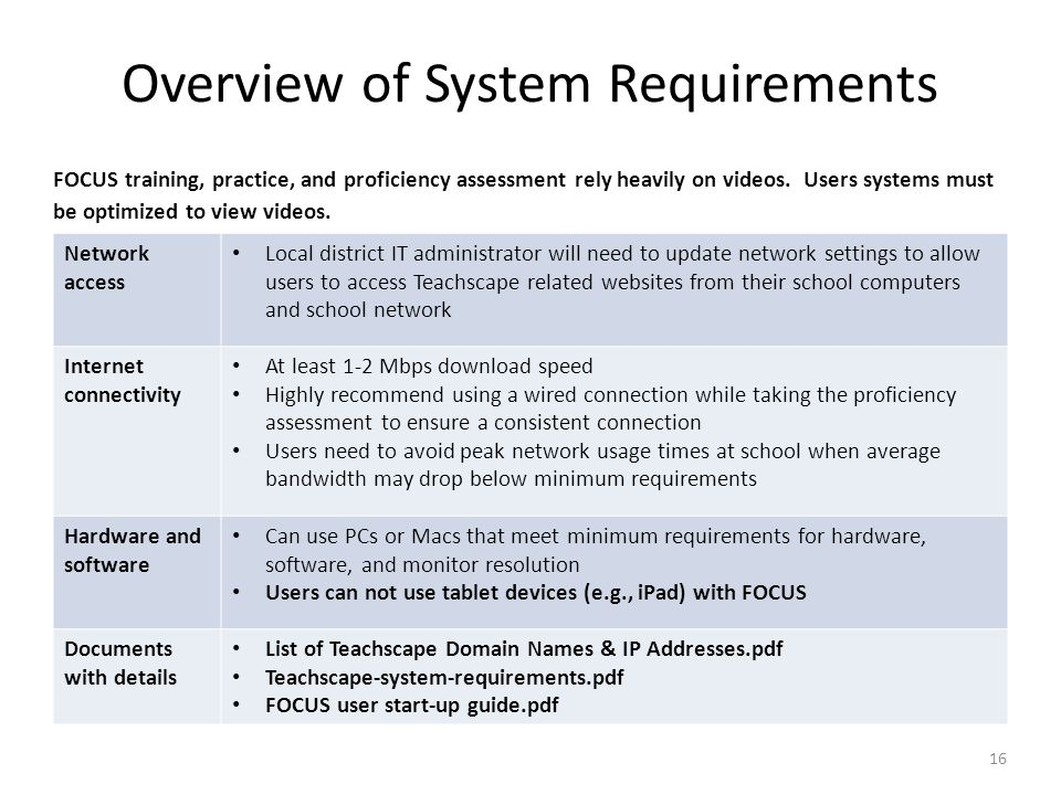 Overview of System Requirements 16 Network access Local district IT administrator will need to update network settings to allow users to access Teachs
