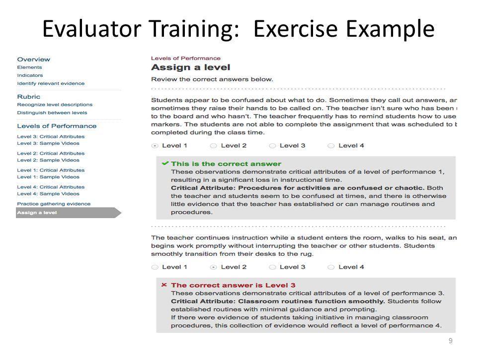 Evaluator Training: Exercise Example 9
