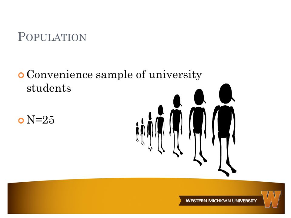 P OPULATION Convenience sample of university students N=25