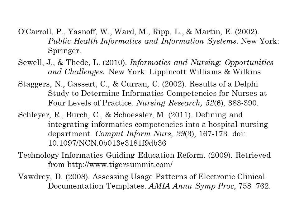 O'Carroll, P., Yasnoff, W., Ward, M., Ripp, L., & Martin, E.