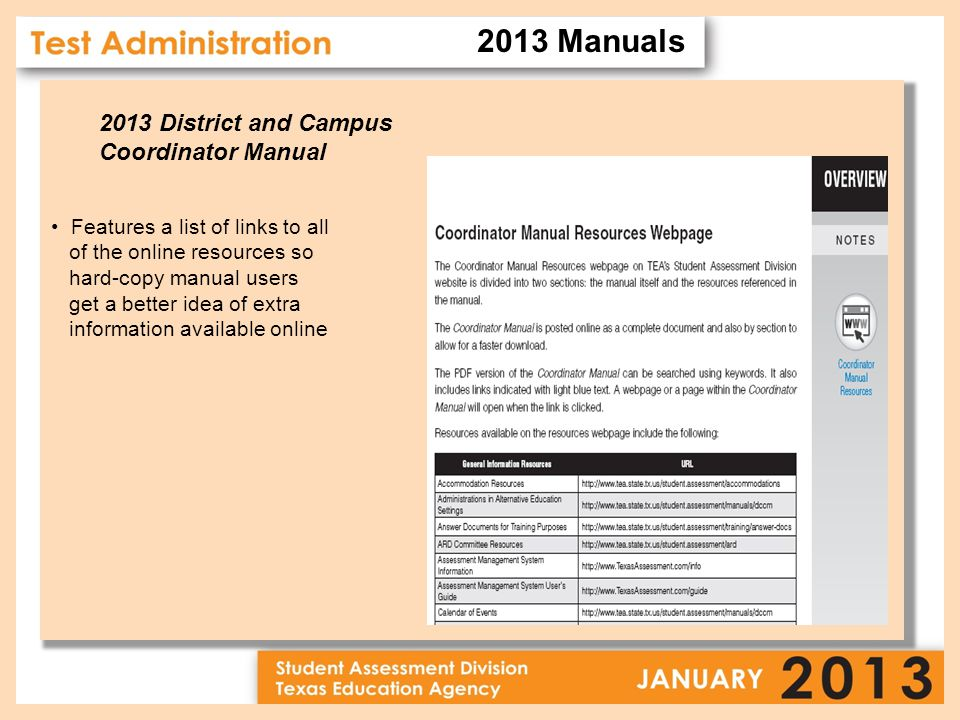 2013 District and Campus Coordinator Manual Features a list of links to all of the online resources so hard-copy manual users get a better idea of extra information available online 2013 Manuals