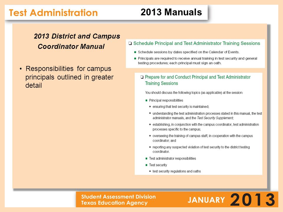 2013 District and Campus Coordinator Manual Responsibilities for campus principals outlined in greater detail 2013 Manuals