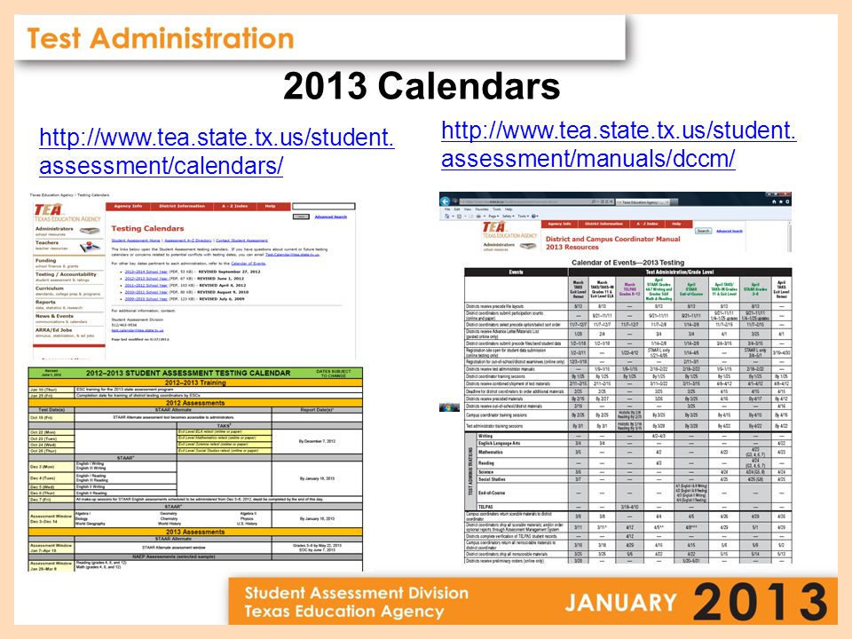 2013 Calendars http://www.tea.state.tx.us/student.