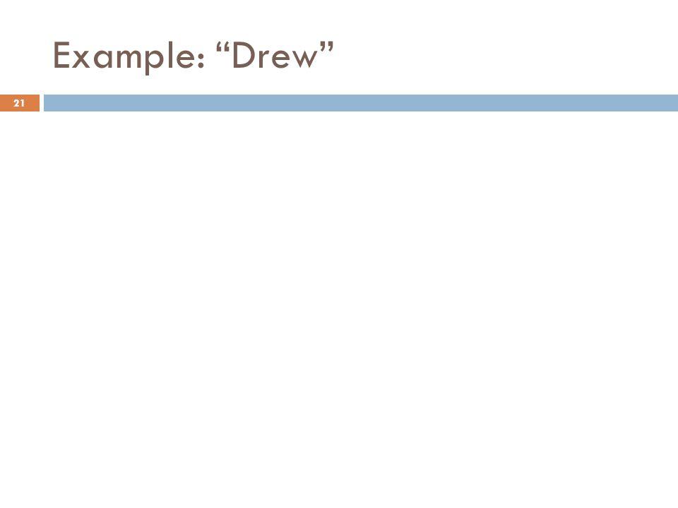 """Example: """"Drew"""" 21"""