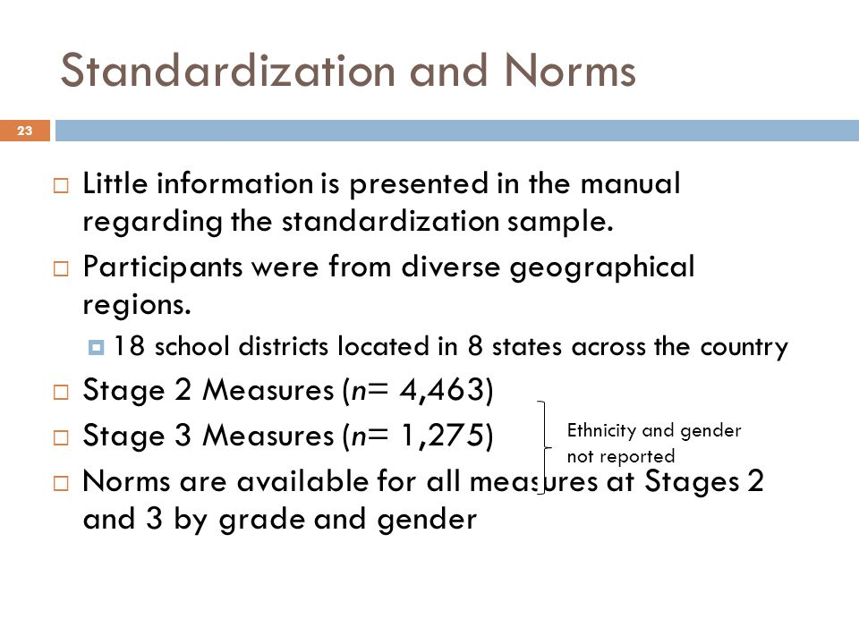 Standardization and Norms 23  Little information is presented in the manual regarding the standardization sample.  Participants were from diverse ge