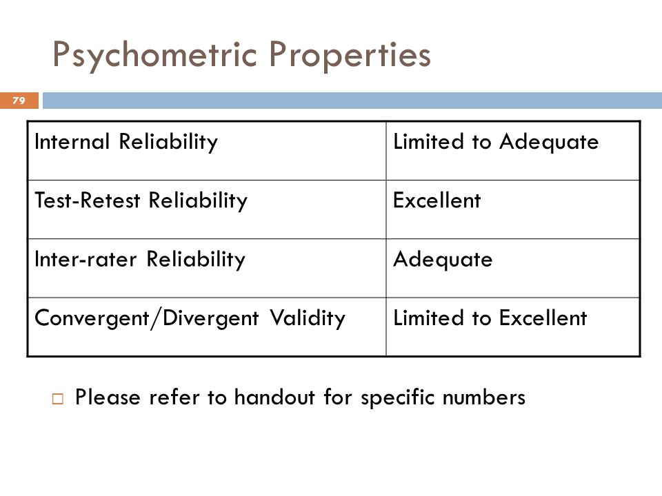 Psychometric Properties  Please refer to handout for specific numbers Internal ReliabilityLimited to Adequate Test-Retest ReliabilityExcellent Inter-