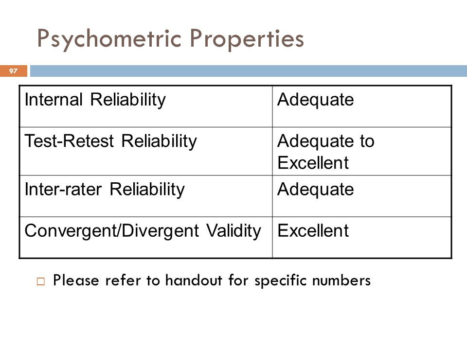 Psychometric Properties  Please refer to handout for specific numbers Internal ReliabilityAdequate Test-Retest ReliabilityAdequate to Excellent Inter