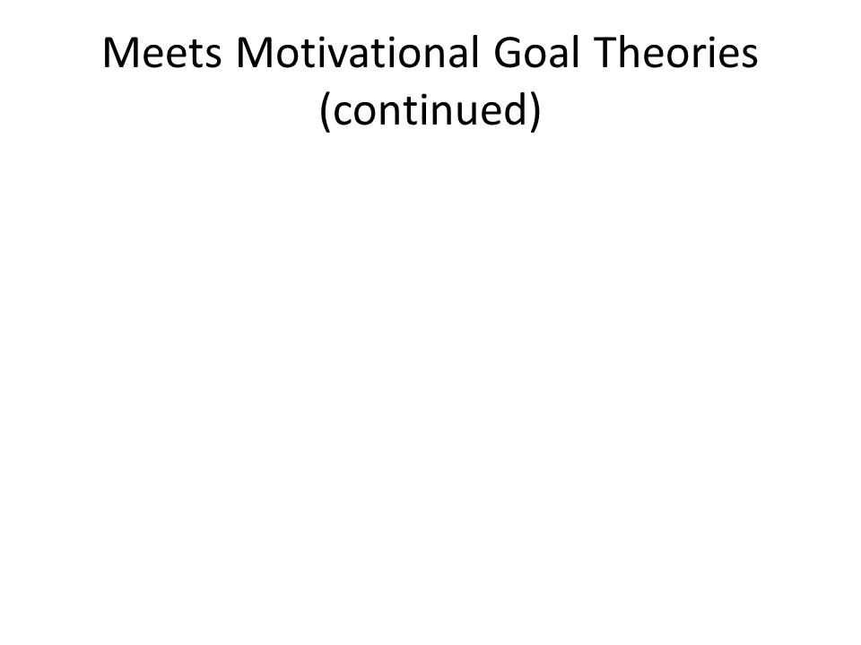 Meets Motivational Goal Theories (continued)