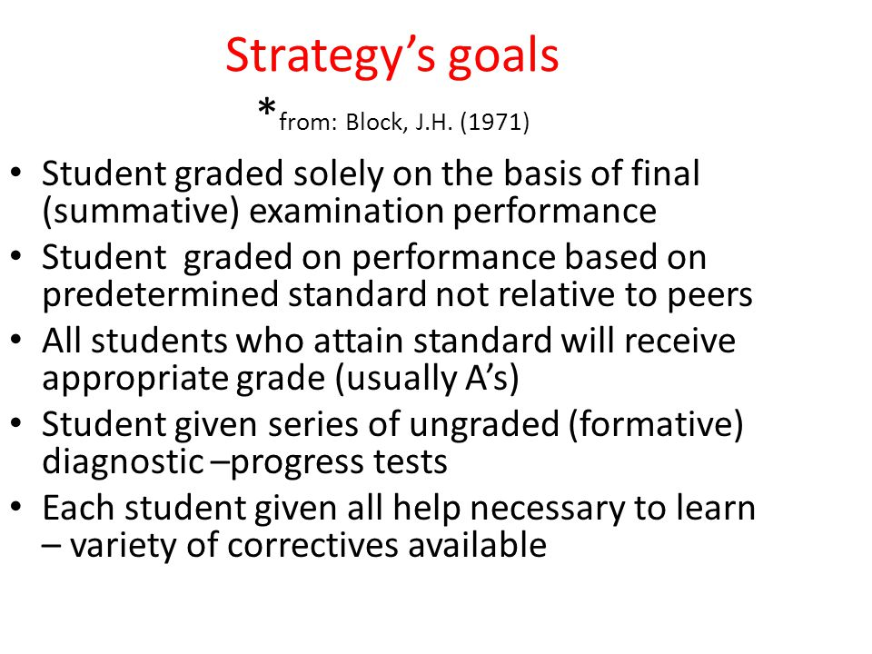 Strategy's goals * from: Block, J.H.