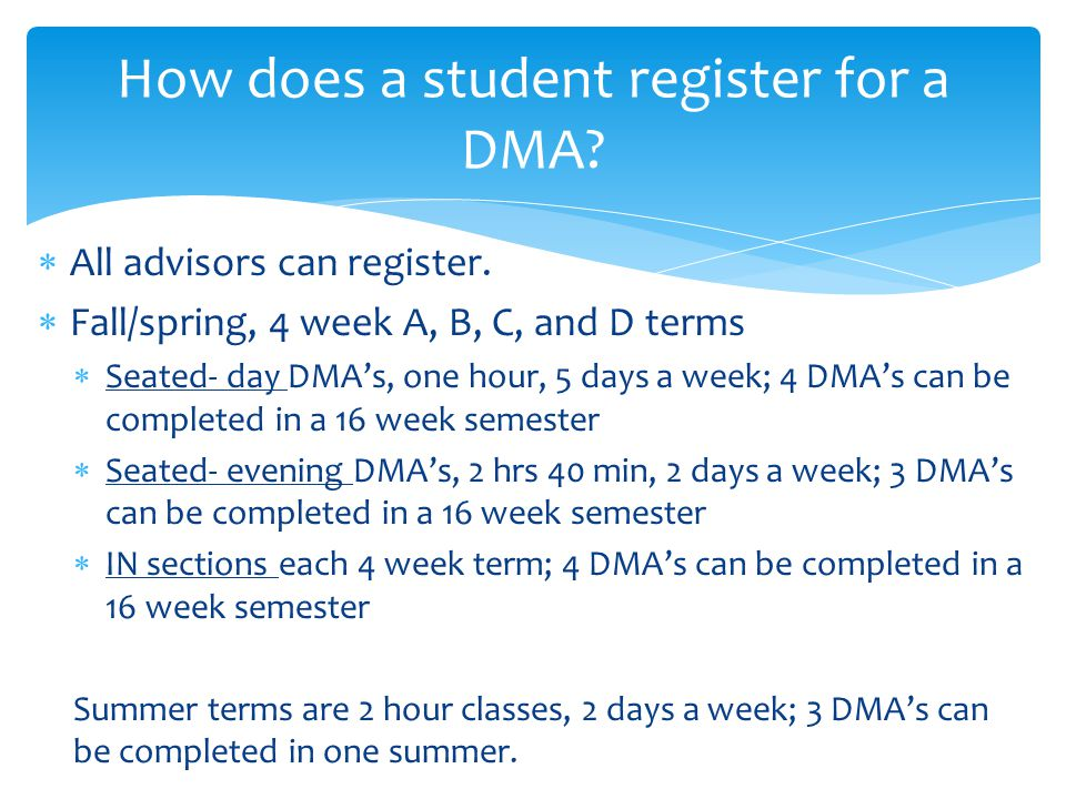  Students must pass each DMA with at least 80%.