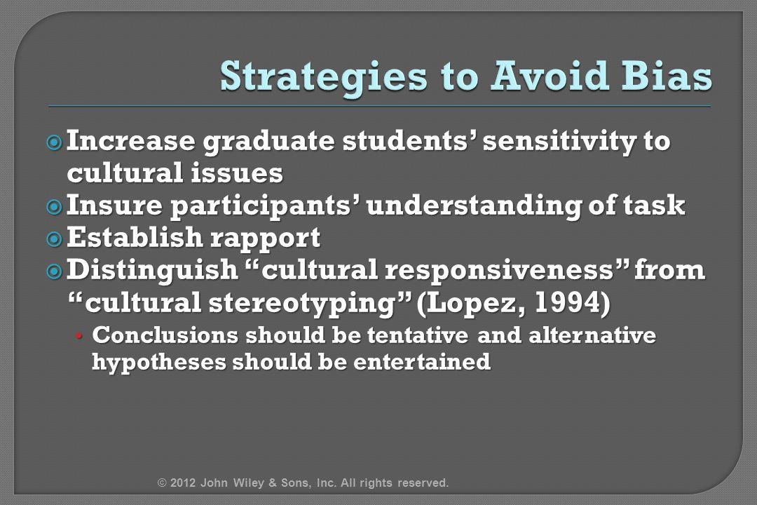 " Increase graduate students' sensitivity to cultural issues  Insure participants' understanding of task  Establish rapport  Distinguish ""cultural"