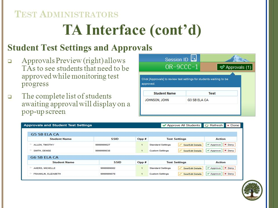  Approvals Preview (right) allows TAs to see students that need to be approved while monitoring test progress  The complete list of students awaiting approval will display on a pop-up screen TA Interface (cont'd) Student Test Settings and Approvals T EST A DMINISTRATORS