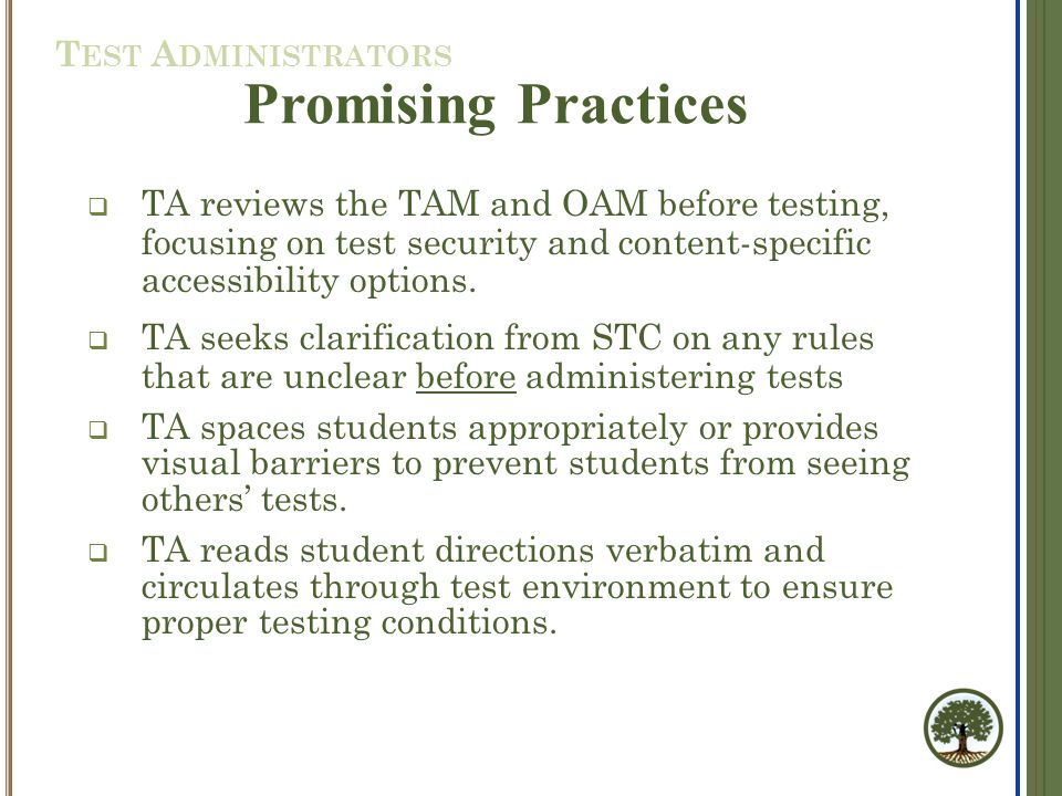  TA reviews the TAM and OAM before testing, focusing on test security and content-specific accessibility options.