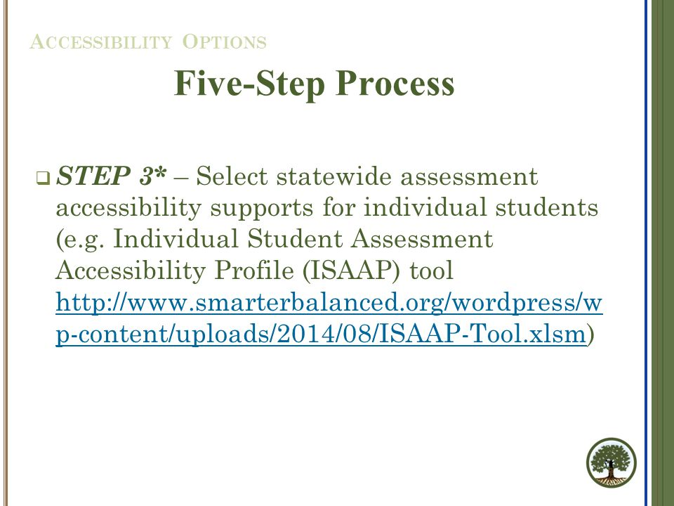 STEP 3* – Select statewide assessment accessibility supports for individual students (e.g.