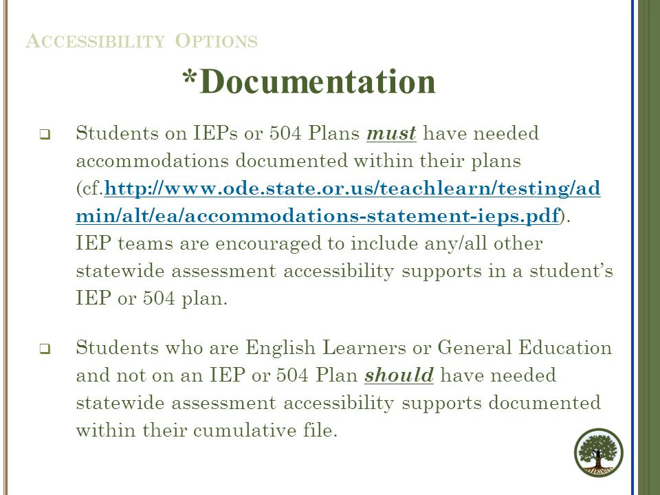  Students on IEPs or 504 Plans must have needed accommodations documented within their plans (cf.