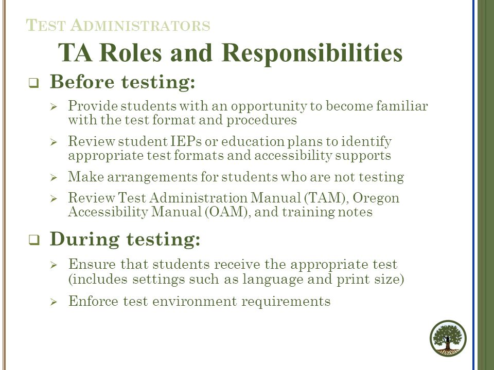  TAs must ensure that students use the correct SSID and take the correct test.