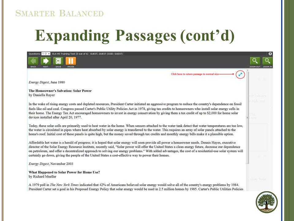 Expanding Passages (cont'd) S MARTER B ALANCED