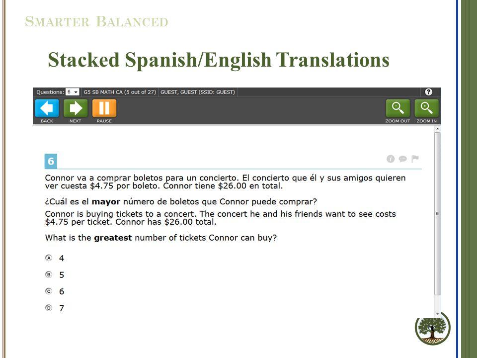Stacked Spanish/English Translations S MARTER B ALANCED