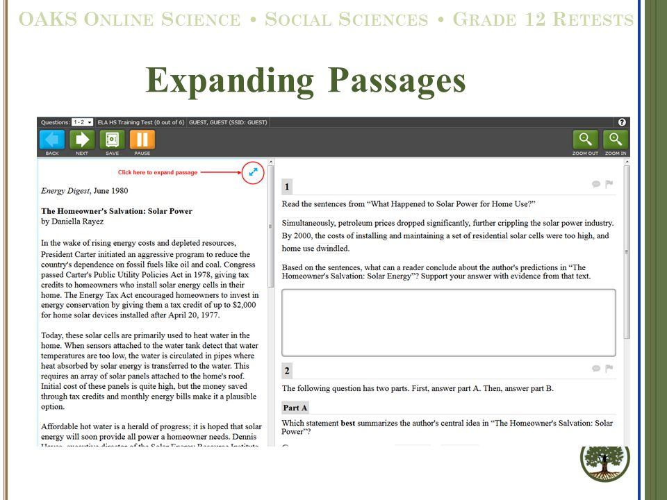 Expanding Passages OAKS O NLINE S CIENCE S OCIAL S CIENCES G RADE 12 R ETESTS